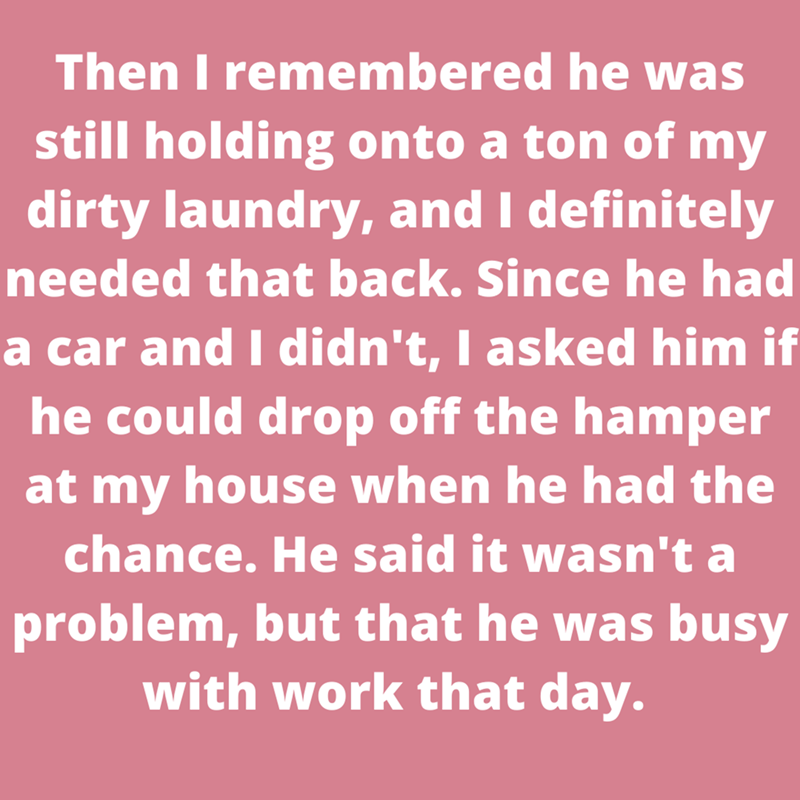 Organism - Then I remembered he was still holding onto a ton of my dirty laundry, and I definitely needed that back. Since he had a car and I didn't, I asked him if he could drop off the hamper at my house when he had the chance. He said it wasn't a problem, but that he was busy with work that day.
