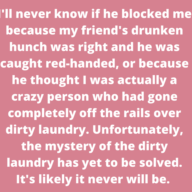 Organism - 'll never know if he blocked me because my friend's drunken hunch was right and he was caught red-handed, or because he thought I was actually a crazy person who had gone completely off the rails over dirty laundry. Unfortunately, the mystery of the dirty laundry has yet to be solved. It's likely it never will be.