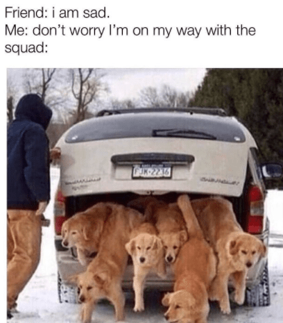 Car - Friend: i am sad. Me: don't worry I'm on my way with the squad: