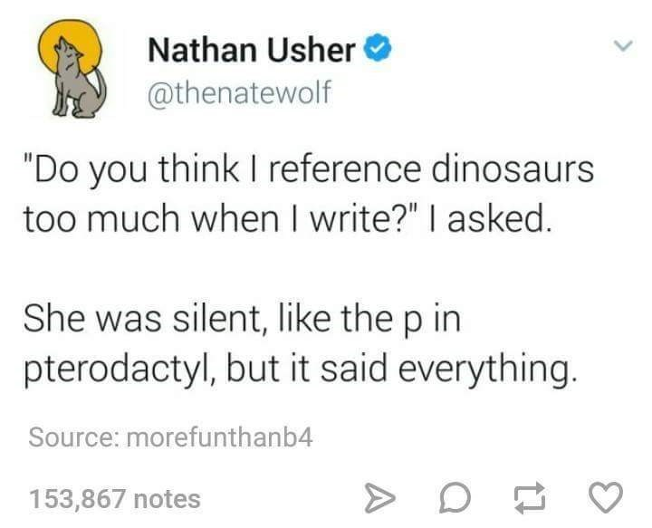 """Font - Nathan Usher @thenatewolf """"Do you think I reference dinosaurs too much when I write?"""" I asked. She was silent, like the p in pterodactyl, but it said everything. Source: morefunthanb4 153,867 notes"""