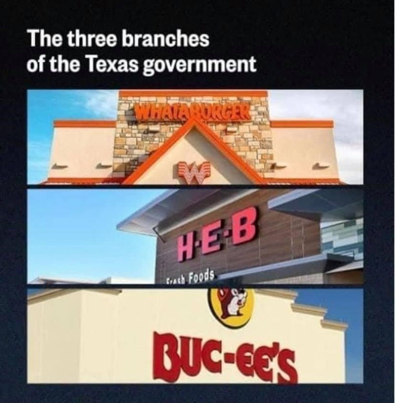 Property - The three branches of the Texas government WHATARORGER HEB fath Foods BUC-GE'S