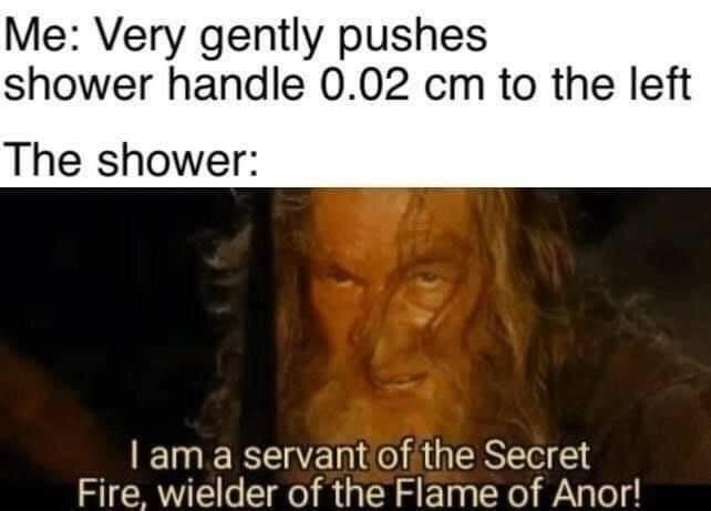 Jaw - Me: Very gently pushes shower handle 0.02 cm to the left The shower: I am a servant of the Secret Fire, wielder of the Flame of Anor!