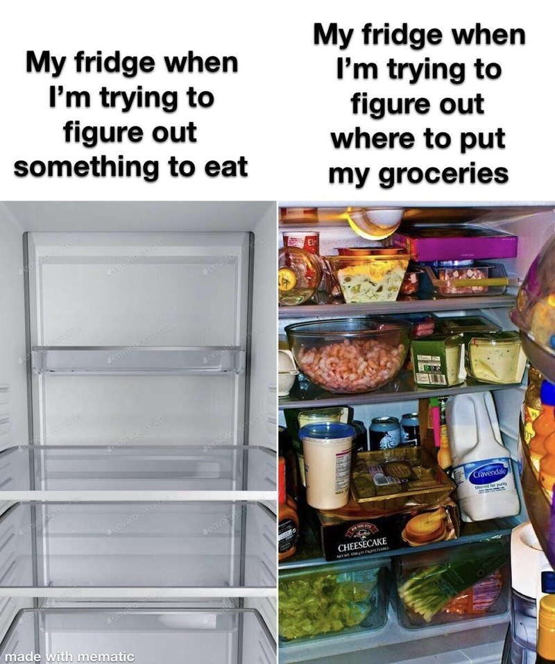 Food - My fridge when I'm trying to figure out something to eat My fridge when I'm trying to figure out where to put my groceries envato Jervatsentens envato envato Cravendale denva ered for pulity CHEESECAKE NIWE ena made with mematic
