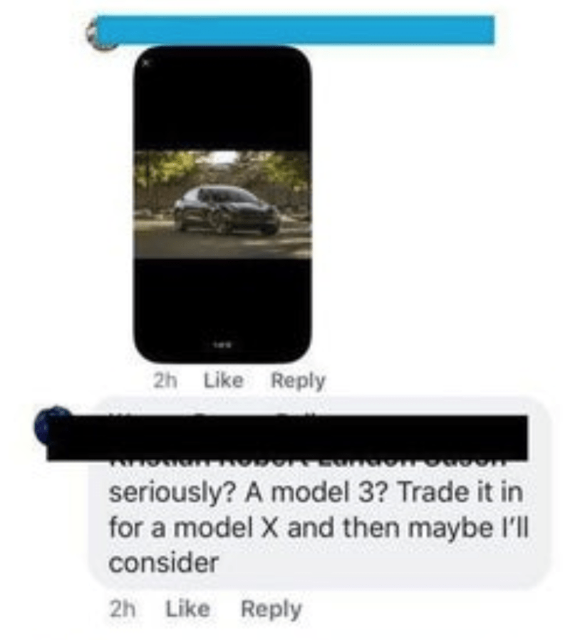 Communication Device - 2h Like Reply seriously? A model 3? Trade it in for a model X and then maybe l'll consider 2h Like Reply