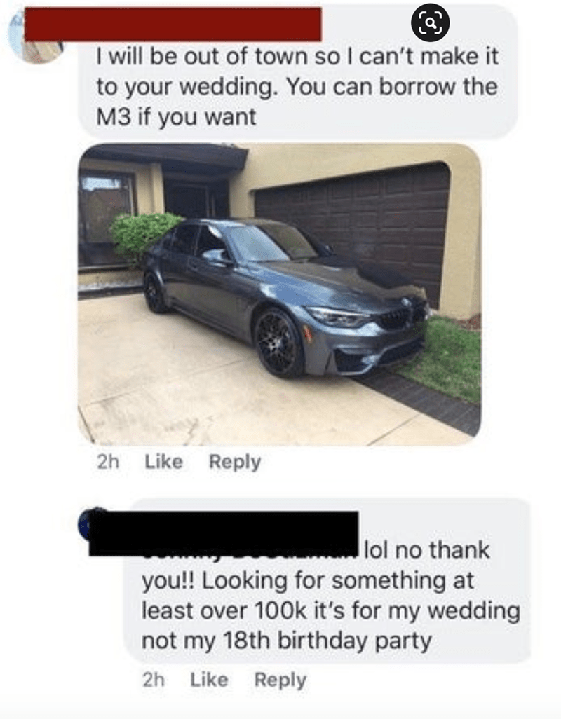 Automotive parking light - I will be out of town so I can't make it to your wedding. You can borrow the M3 if you want 2h Like Reply lol no thank you!! Looking for something at least over 100k it's for my wedding not my 18th birthday party 2h Like Reply