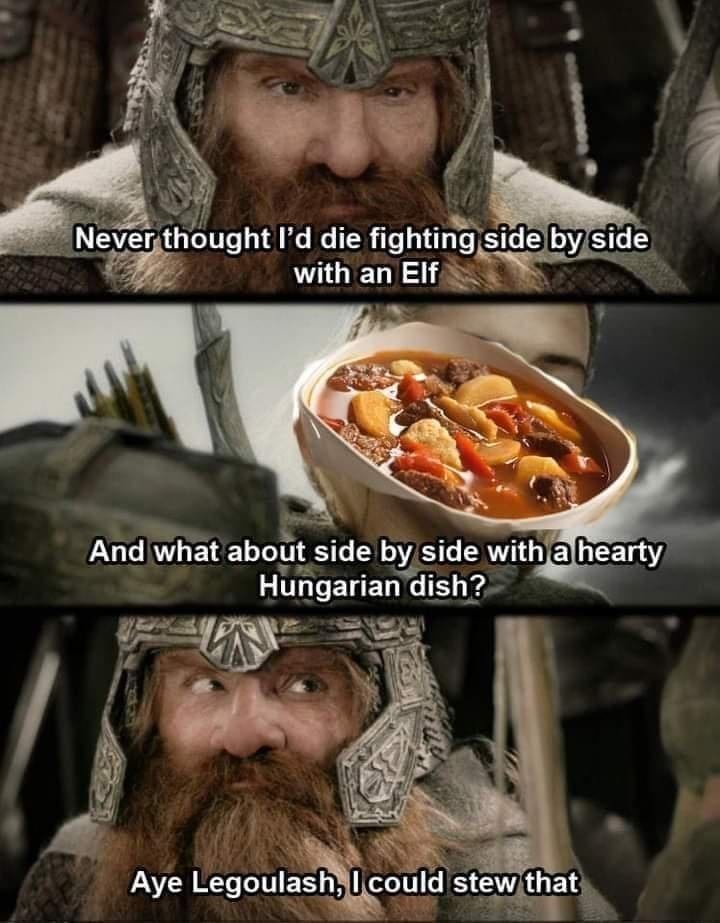 Food - Never thought I'd die fighting side by side with an Elf And what about side by side with a hearty Hungarian dish? Aye Legoulash,I could stew that