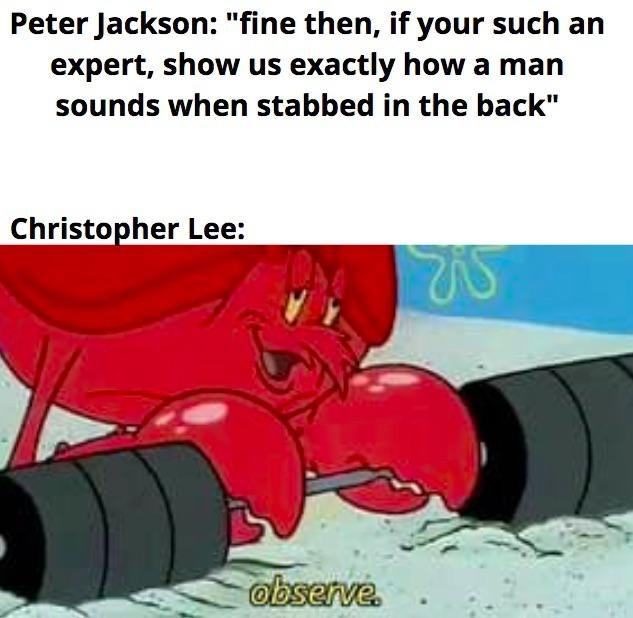 """Motor vehicle - Peter Jackson: """"fine then, if your such an expert, show us exactly how a man sounds when stabbed in the back"""" Christopher Lee: observe."""