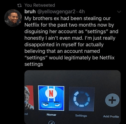 """Font - 23 You Retweeted bruh @yellowgengar2 · 4h My brothers ex had been stealing our Netflix for the past two months now by disguising her account as """"settings"""" and honestly I ain't even mad. I'm just really disappointed in myself for actually believing that an account named """"settings"""" would legitimately be Netflix settings est Nomar Settings Add Profile +."""