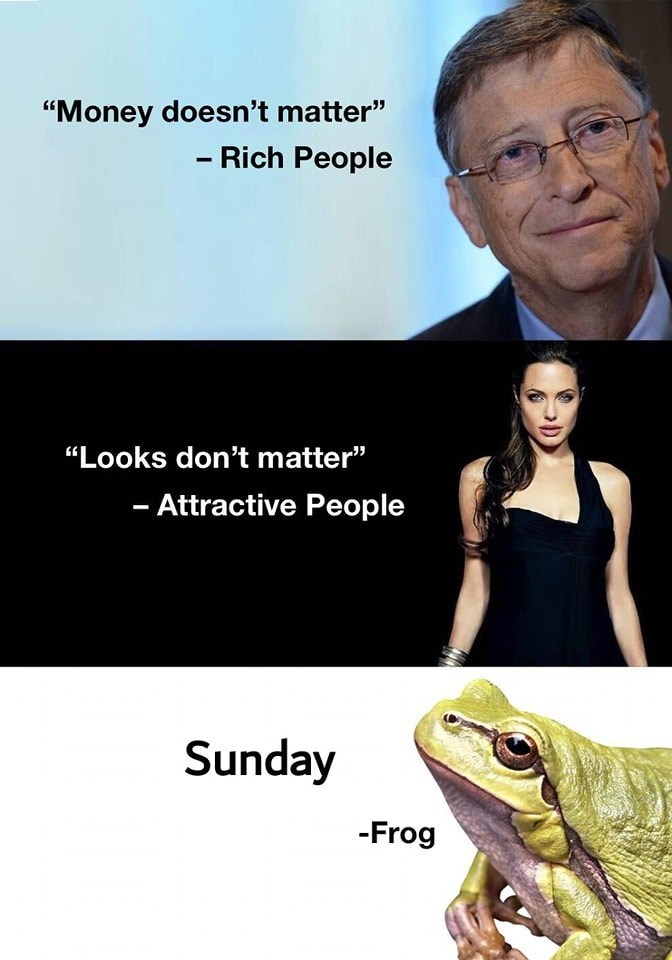 """Face - """"Money doesn't matter"""" - Rich People """"Looks don't matter"""" - Attractive People Sunday -Frog"""