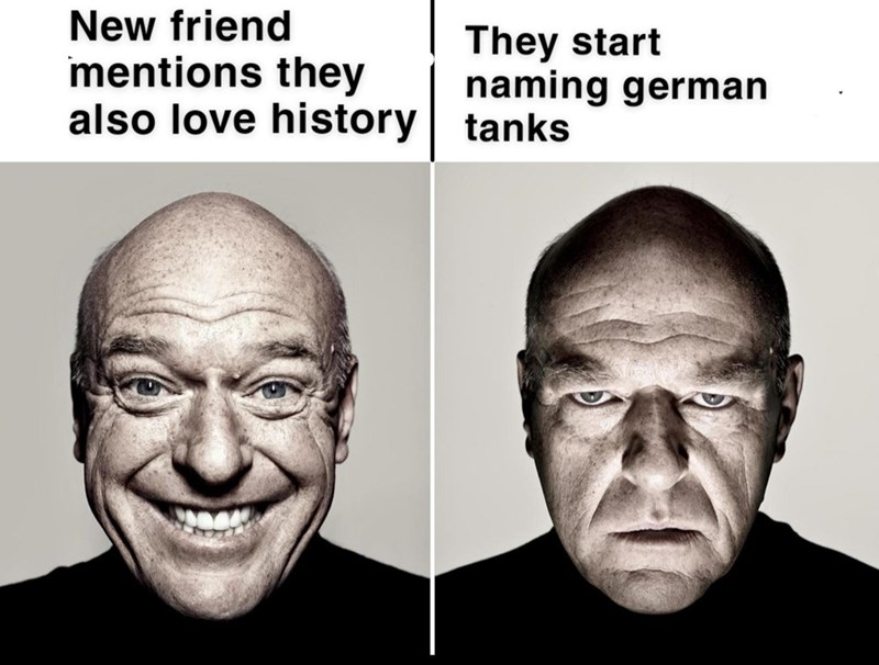 Forehead - New friend mentions they also love history tanks They start naming german