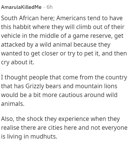 Font - AmarulaKilledMe · 6h South African here; Americans tend to have this habbit where they will climb out of their vehicle in the middle of a game reserve, get attacked by a wild animal because they wanted to get closer or try to pet it, and then cry about it. I thought people that come from the country that has Grizzly bears and mountain lions would be a bit more cautious around wild animals. Also, the shock they experience when they realise there are cities here and not everyone is living i