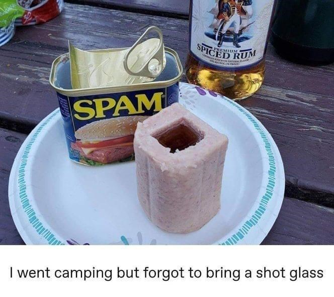 Food - SPICED RUM PREMIUM SPAM I went camping but forgot to bring a shot glass