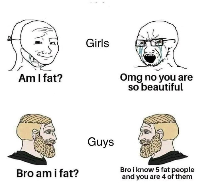 Forehead - Girls Am I fat? Omg no you are so beautiful Guys Bro am i fat? Bro i know 5 fat people and you are 4 of them