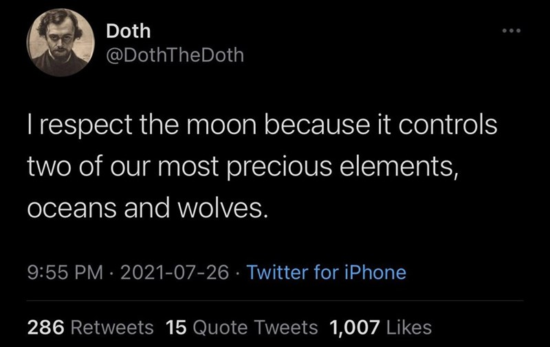 Font - Doth ... @DothTheDoth T respect the moon because it controls two of our most precious elements, oceans and wolves. 9:55 PM · 2021-07-26 · Twitter for iPhone 286 Retweets 15 Quote Tweets 1,007 Likes