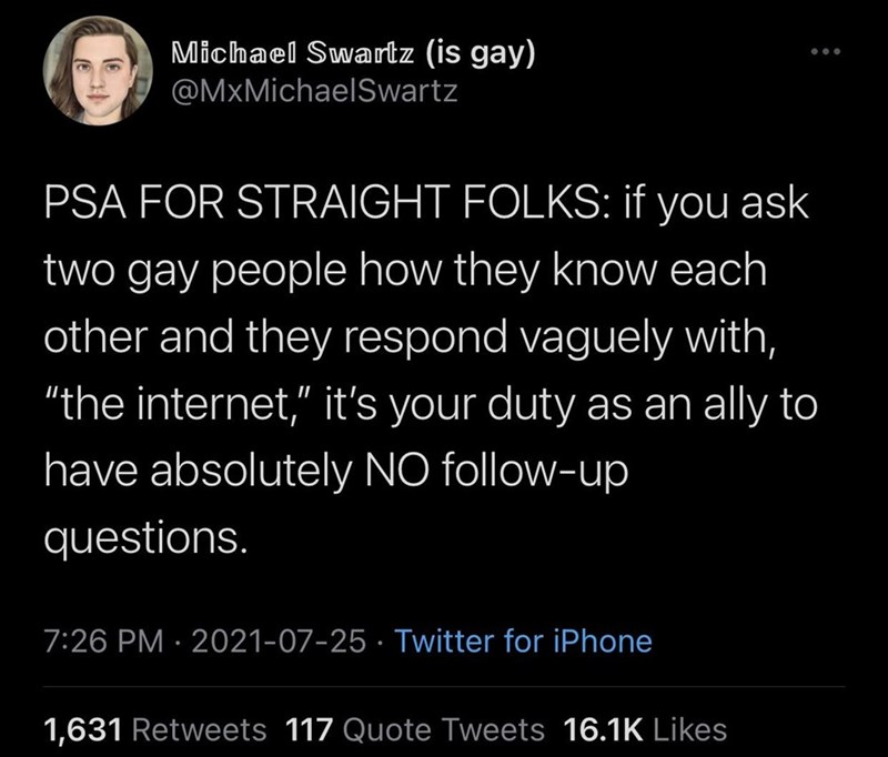 """Organism - Michael Swartz (is gay) @MxMichaelSwartz PSA FOR STRAIGHT FOLKS: if you ask two gay people how they know each other and they respond vaguely with, """"the internet,"""" it's your duty as an ally to have absolutely NO follow-up questions. 7:26 PM · 2021-07-25 · Twitter for iPhone 1,631 Retweets 117 Quote Tweets 16.1K Likes"""