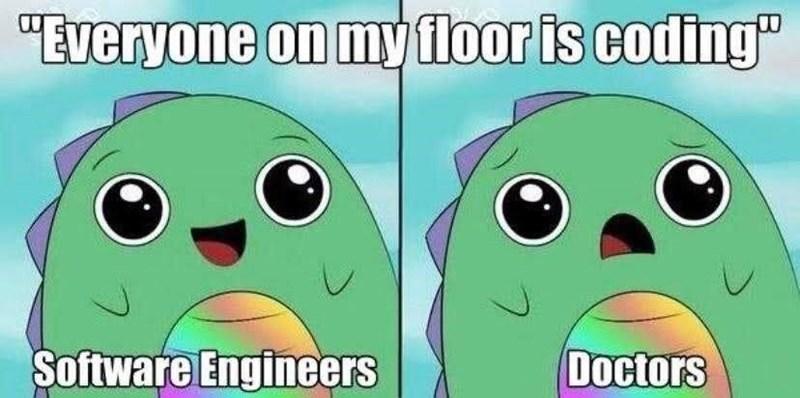 "Cartoon - ""Everyone on my floor is coding"" Software Engineers Doctors"