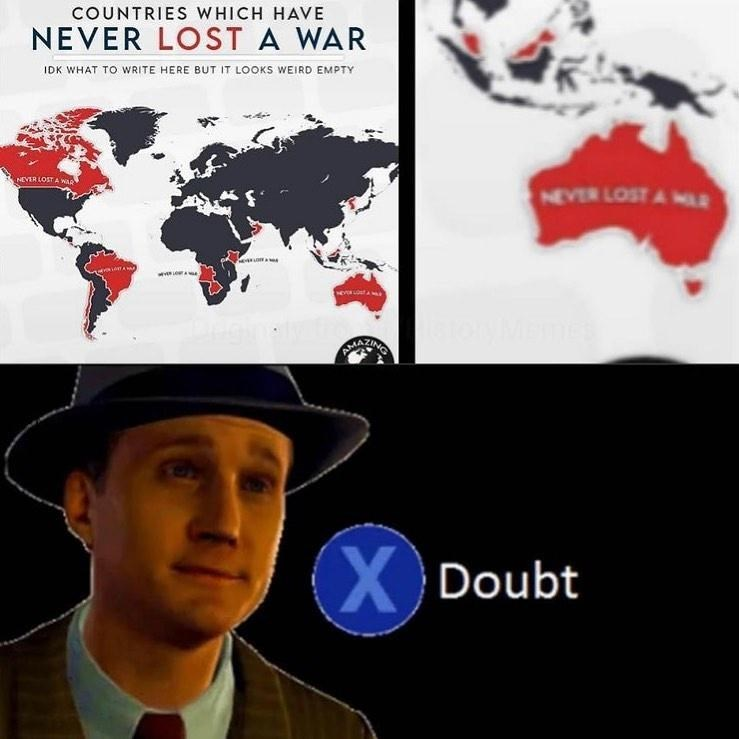 Hat - COUNTRIES WHICH HAVE NEVER LOST A WAR IDK WHAT TO WRITE HERE BUT IT LOOKS WEIRD EMPTY NEVER LOST A WR NEVER LOST A MLE AMAZING X Doubt