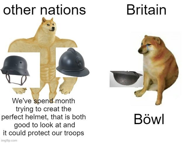 Helmet - other nations Britain We've spendmonth trying to creat the perfect helmet, that is both good to look at and it could protect our troops Böwl imgflip.com
