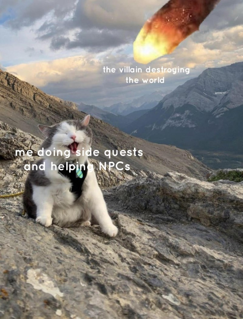Cloud - the villain destroying the world me doing side quests and helpin NPCS