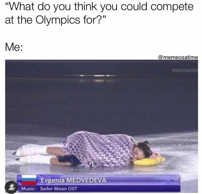 """Sleeve - """"What do you think you could compete at the Olympics for?"""" Me: @memeosatime SBRPREDIC Evgenia MEDVEDEVA Music: Sailor Moon OST"""