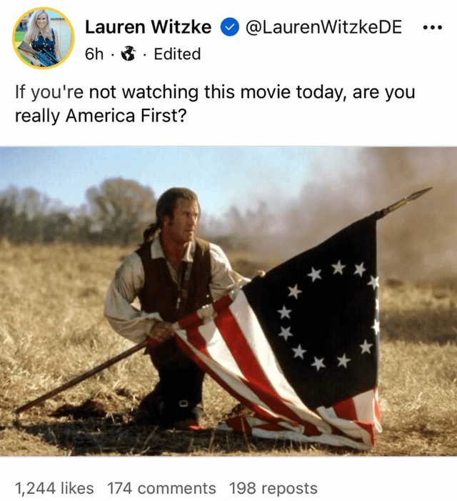 Ecoregion - Lauren Witzke @LaurenWitzkeDE 6h · 3 · Edited ... If you're not watching this movie today, are you really America First? ** 1,244 likes 174 comments 198 reposts