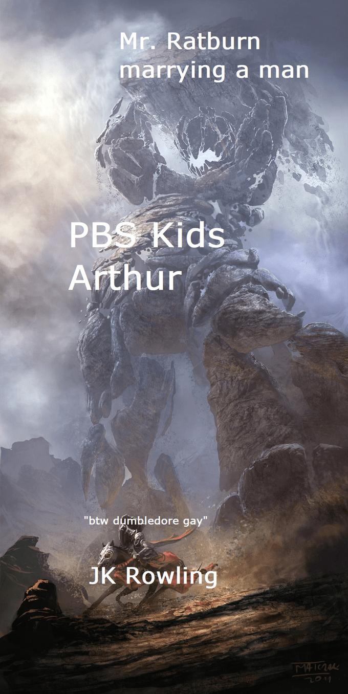 """World - Mr. Ratburn marrying a man PBS Kids Arthur """"btw dumbledore gay"""" JK Rowling 2014"""