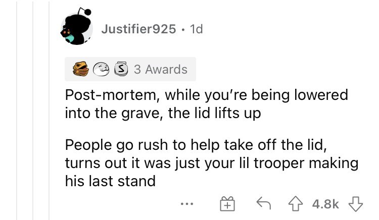 Product - Justifier925• 1d 3 3 Awards Post-mortem, while you're being lowered into the grave, the lid lifts up People go rush to help take off the lid, turns out it was just your lil trooper making his last stand 6 1 4.8k 3