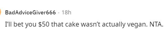 Font - BadAdviceGiver666 · 18h I'll bet you $50 that cake wasn't actually vegan. NTA.