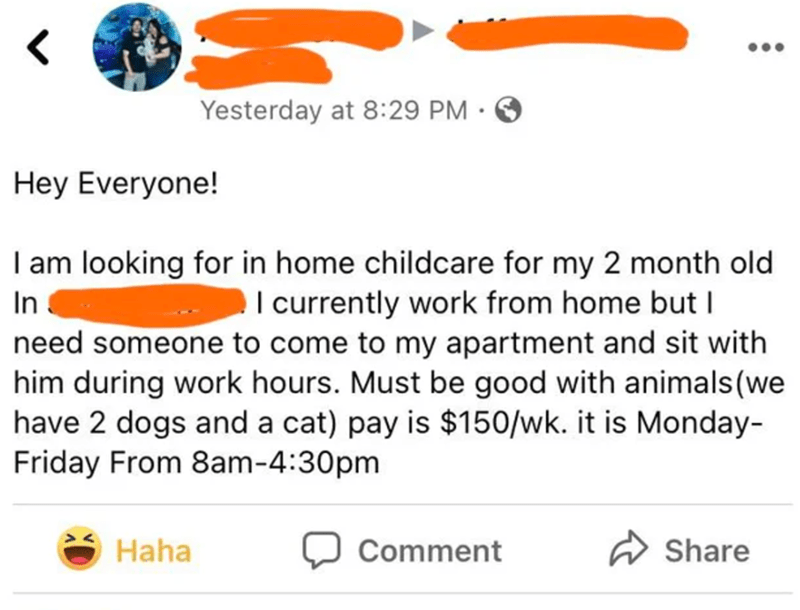Product - •.. Yesterday at 8:29 PM • Hey Everyone! I am looking for in home childcare for my 2 month old In I currently work from home but I need someone to come to my apartment and sit with him during work hours. Must be good with animals(we have 2 dogs and a cat) pay is $150/wk. it is Monday- Friday From 8am-4:30pm Haha Comment A Share