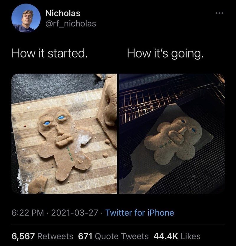Organism - Nicholas ... @rf_nicholas How it started. How it's going. 6:22 PM · 2021-03-27 · Twitter for iPhone 6,567 Retweets 671 Quote Tweets 44.4K Likes