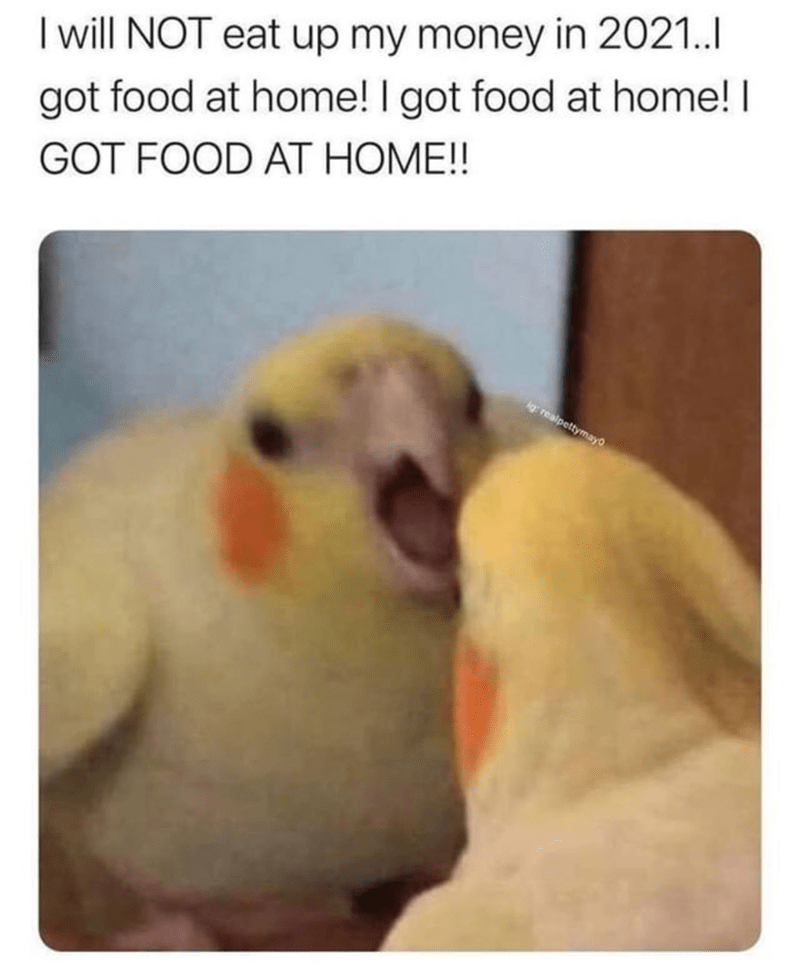 Bird - I will NOT eat up my money in 2021.. got food at home! I got food at home! I GOT FOOD AT HOME!! ig realpettymayo