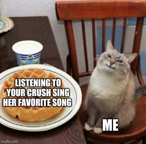 Cat - LISTENING TO YOUR CRUSH SING HER FAVORITE SONG ME imgflip.com