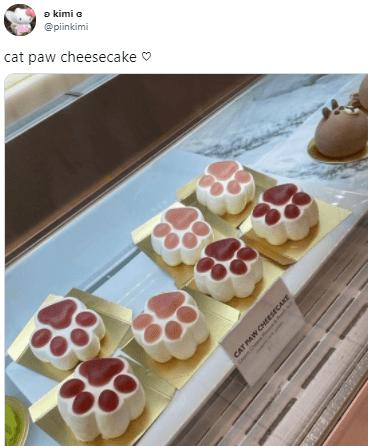 Food - a kimi a @piinkimi cat paw cheesecake O CAT PAW CHEESECAKE
