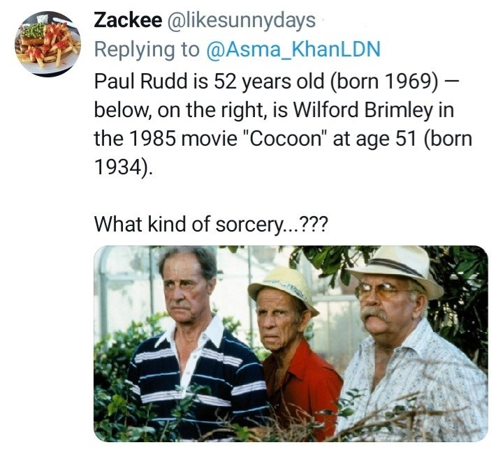 """Shirt - Zackee @likesunnydays Replying to @Asma_KhanLDN Paul Rudd is 52 years old (born 1969) – below, on the right, is Wilford Brimley in the 1985 movie """"Cocoon"""" at age 51 (born 1934). What kind of sorcery...???"""