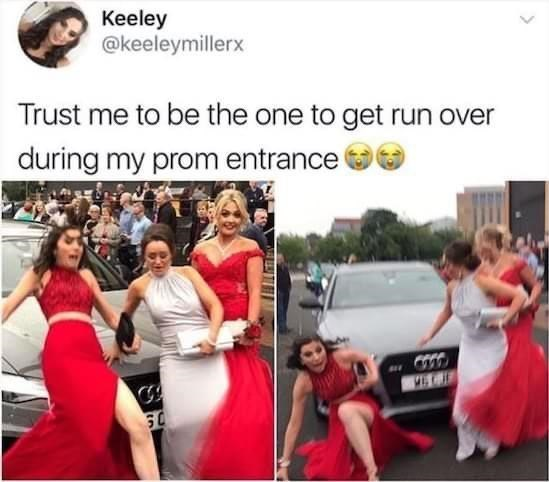 Clothing - Keeley @keeleymillerx Trust me to be the one to get run over during my prom entrance