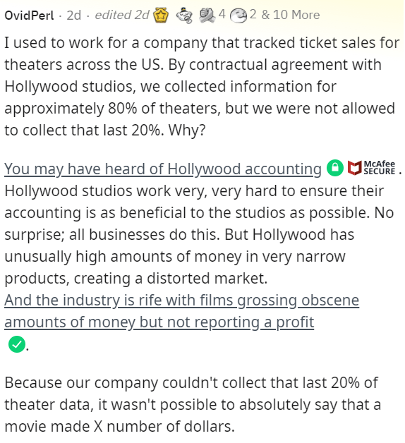 Font - OvidPerl · 2d · edited 2d 42 & 10 More I used to work for a company that tracked ticket sales for theaters across the US. By contractual agreement with Hollywood studios, we collected information for approximately 80% of theaters, but we were not allowed to collect that last 20%. Why? MCAfee SECURE You may have heard of Hollywood accounting O R. Hollywood studios work very, very hard to ensure their accounting is as beneficial to the studios as possible. No surprise; all businesses do thi
