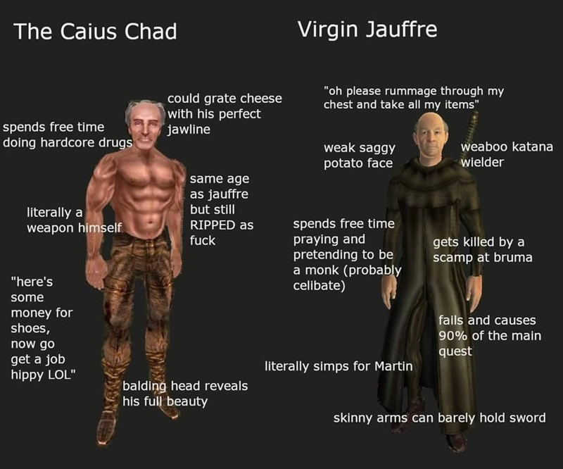 """Joint - The Caius Chad Virgin Jauffre """"oh please rummage through my chest and take all my items"""" could grate cheese with his perfect jawline spends free time doing hardcore drugs weak saggy weaboo katana potato face wielder same age as jauffre but still literally a spends free time praying and pretending to be a monk (probably celibate) RIPPED as weapon himself fuck gets killed by a scamp at bruma """"here's some money for shoes, fails and causes 90% of the main now go quest get a job hippy LOL"""" li"""