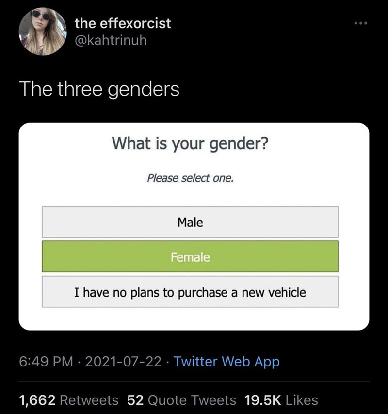Font - the effexorcist ... @kahtrinuh The three genders What is your gender? Please select one. Male Female I have no plans to purchase a new vehicle 6:49 PM · 2021-07-22 · Twitter Web App 1,662 Retweets 52 Quote Tweets 19.5K Likes