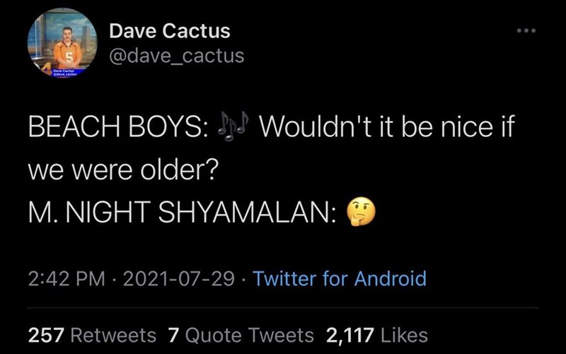 World - Dave Cactus ... @dave_cactus Cactus 04ave.cactu BEACH BOYS: Wouldn't it be nice if we were older? M. NIGHT SHYAMALAN: 2:42 PM · 2021-07-29 · Twitter for Android 257 Retweets 7 Quote Tweets 2,117 Likes