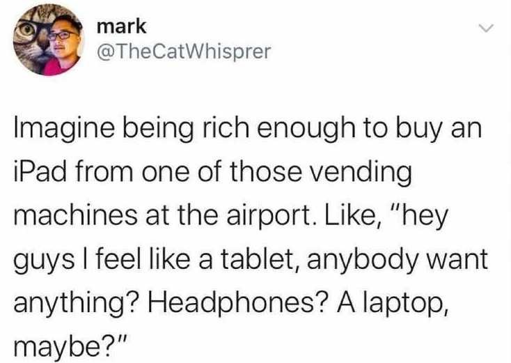 """Font - mark @TheCatWhisprer Imagine being rich enough to buy an iPad from one of those vending machines at the airport. Like, """"hey guys I feel like a tablet, anybody want anything? Headphones? A laptop, maybe?"""""""