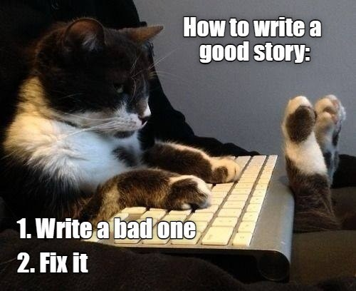 Cat - How to write a good story: 1. Write a bad one 2. Fix it