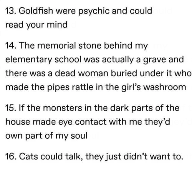 Font - 13. Goldfish were psychic and could read your mind 14. The memorial stone behind my elementary school was actually a grave and there was a dead woman buried under it who made the pipes rattle in the girl's washroom 15. If the monsters in the dark parts of the house made eye contact with me they'd own part of my soul 16. Cats could talk, they just didn't want to.