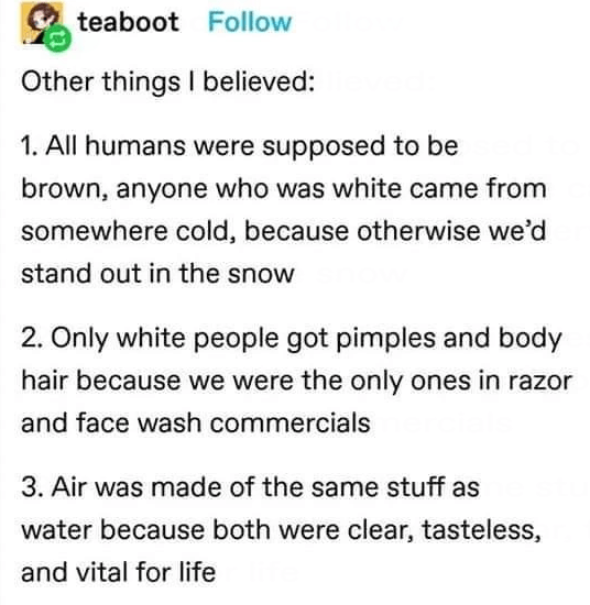 Font - teaboot Follow Other things I believed: 1. All humans were supposed to be brown, anyone who was white came from somewhere cold, because otherwise we'd stand out in the snow 2. Only white people got pimples and body hair because we were the only ones in razor and face wash commercials 3. Air was made of the same stuff as water because both were clear, tasteless, and vital for life