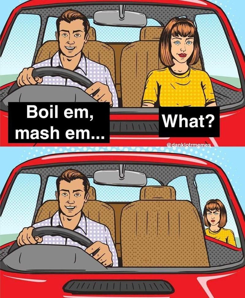 Clothing - Boil em, What? mash em... @danklotrmemes