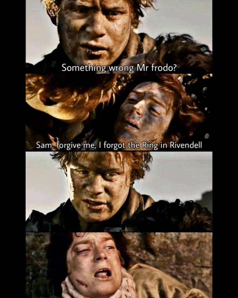 Forehead - Something wrong Mr frodo? Sam, forgive me, I forgot the Ring in Rivendell