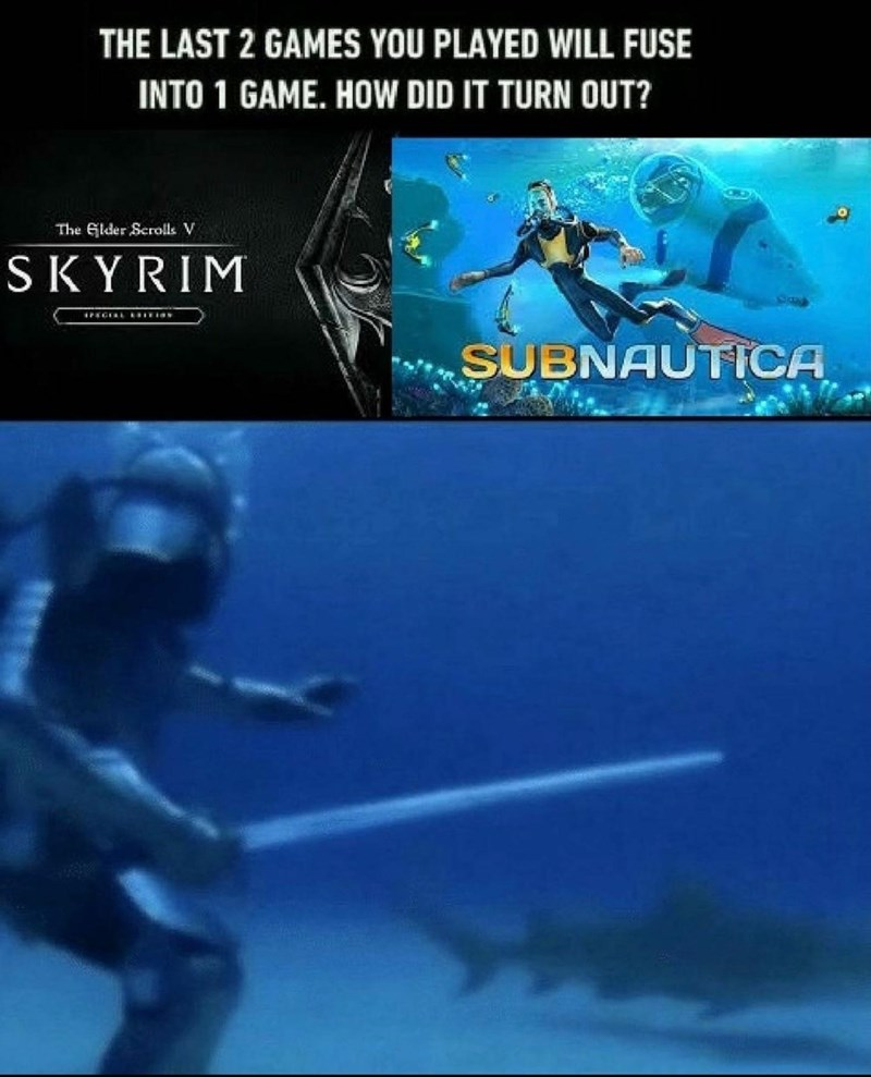 World - THE LAST 2 GAMES YOU PLAYED WILL FUSE INTO 1 GAME. HOW DID IT TURN OUT? The Glder Scrolls V SKYRIM SUBNAUTICA