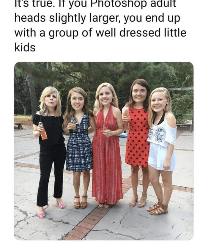 Clothing - It's true. If you Photoshop adult heads slightly larger, you end up with a group of well dressed little kids