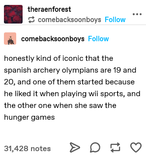 Font - theraenforest * comebacksoonboys Follow comebacksoonboys Follow honestly kind of iconic that the spanish archery olympians are 19 and 20, and one of them started because he liked it when playing wii sports, and the other one when she saw the hunger games 31,428 notes >