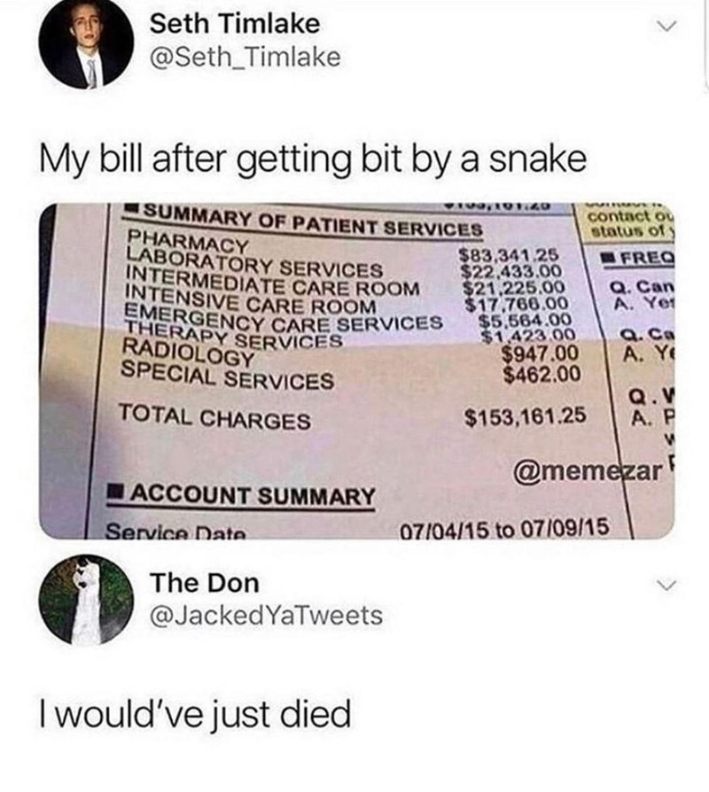Font - Seth Timlake @Seth_Timlake My bill after getting bit by a snake SUMMARY OF PATIENT SERVICES 19720 Winv contact ou status of PHARMACY LABORATORY SERVICES INTERMEDIATE CARE ROOM INTENSIVE CARE ROOM EMERGENCY CARE SERVICES THERAPY SERVICES RADIOLOGY $83,341.25 $22,433.00 $21,225.00 $17,766.00 $5,564.00 $1.423 00 $947.00 $462.00 FREQ Q. Can A. Yer Q. Ca A. Ye SPECIAL SERVICES Q.V A. P TOTAL CHARGES $153,161.25 @memezar ACCOUNT SUMMARY Service Date 07/04/15 to 07/09/15 The Don @JackedYaTweets