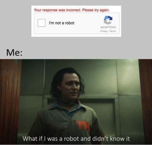 Chin - Your response was incorrect. Please try again. Im not a robot teCAPTCHA Privacy-Terme Me: What if I was a robot and didn't know it